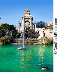 Barcelona ciudadela park lake fountain and quadriga -...