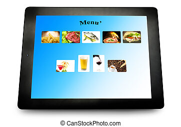 Tablet pc with menu for restaurant on white