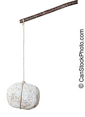 Stone hanging by a string