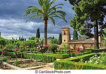 Gardens of La Alhambra in Granada, Spain