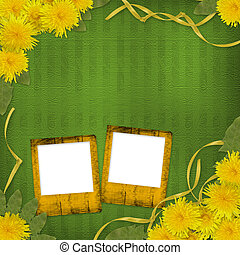 Green abstract background with flowers of dandelion