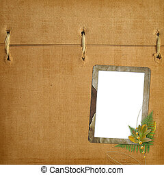 Abstract ancient brown background with old frame in scrapbooking style