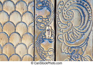mönster, dörr, metallisk