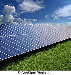 Solar panels on the grass - Solar photovoltaic cell panels...