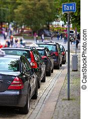 Taxi cars on city street
