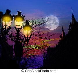 Barcelona Rambla Catalunya streetlights backligth