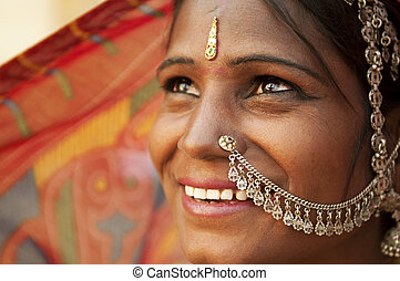 Happy Indian woman - Portrait of an India Rajasthani woman
