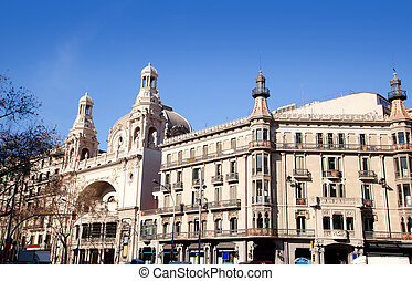 Barcelona city buildings Gran Via and Rambla