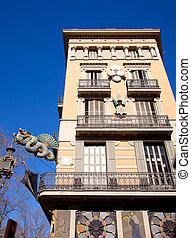 Barcelona Ramblas street dragon in Plaza Boqueria -...