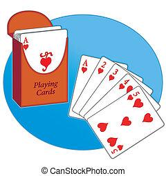 Poker Cards, Straight Flush, Hearts