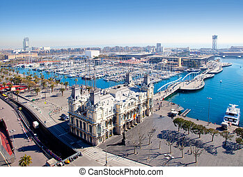 Aerial Barcelona port marina view in Plaza de colon