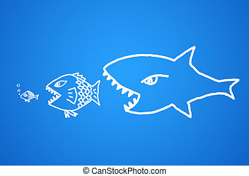 Concept of business investment - big fish eats the small...