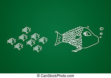 Concept of business investment - small fish eats the big...