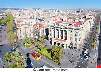 Aerial Barcelona view with Ramblas and Colon