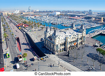 Aerial Barcelona port marina view in passeig Colon - Aerial...