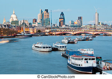 St Pauls Cathedral and River Thames - London Cityscape with...