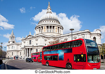 Paul Cathedral with London Bus - St. Paul Cathedral with...