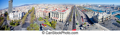 Aerial panoramic Barcelona view Port Passeig Colon and...
