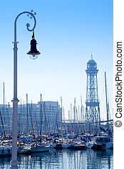 Barcelona marina port with teleferic tower