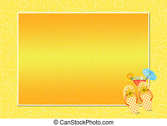 Summer Flip-flop Frame - Bright yellow frame with flip-flops...