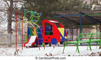 Childrens playground in the winter - Childrens playground...