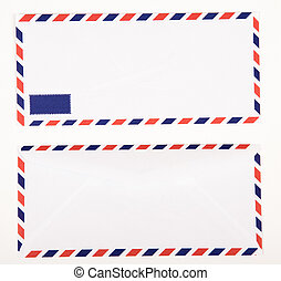 Classic air mail envelope isolated on white background