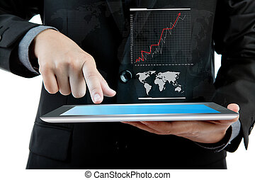 Business man holding the modern digital tablet pc with...