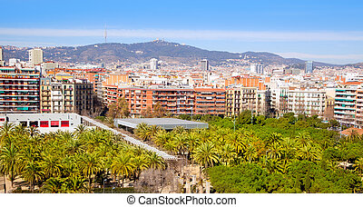 Barcelona Panoramic with Tibidabo mountain under blue sky
