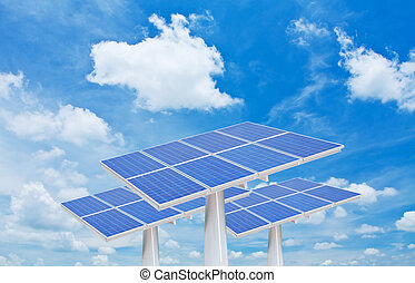 solar cells with white clouds and blue sky