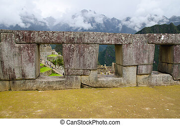 templo, tres, Windows, machu, Picchu, perú