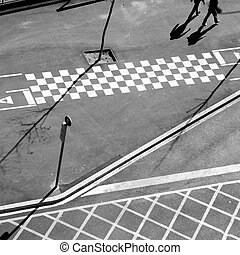 City asphalt lines and shadow aerial view in Barcelona
