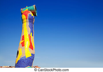 Dona i Ocell sculpture of Joan Miro in Barcelona Woman and...