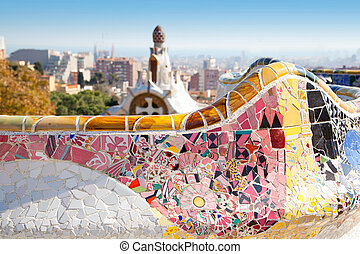 Barcelona Park Guell of Gaudi modernism - Barcelona Park...