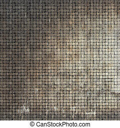 3d render of a grunge stone tile mosaic wall floor