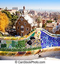 Barcelona, parque, Guell, hada, cuento, mosaico, casa