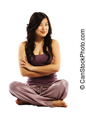 Young asian woman crossed arms