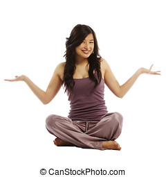 Young asian woman with arms out
