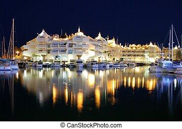 Marina at night, Benalmadena. - Boats and apartments in the...