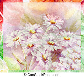 Water colour, flowers bouquet - Picture, still-life, flowers...