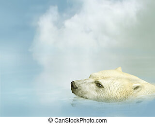 Polar Bear - Illustration of a polar bear swimming in the...