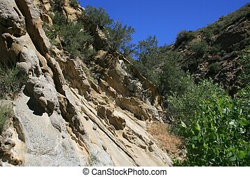 Narrows Geology - Geology and trees in a canyon, California
