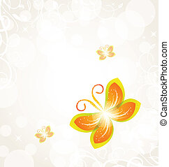 Abstract butterfly on ornamental background - Illustration...