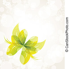 Abstract green butterfly for design celebration card