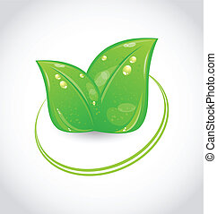Eco green design symbol with leaves