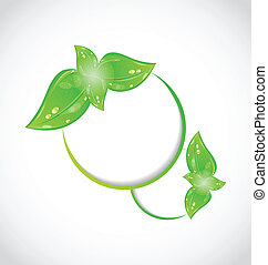 Abstract frame with eco green leaves - Illustration abstract...