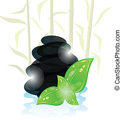 Illustration meditative oriental background with cairn...