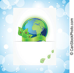 Green earth with leaves wrapped ribbon - Illustration of...