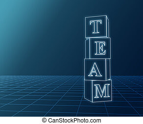 Team boxes - 3d glass boxes with text team over blue