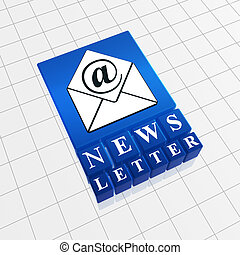 Newsletter concept image of text and email sign with...