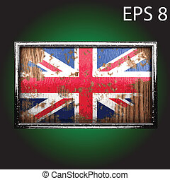Vector flag on old wood